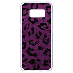 Skin5 Black Marble & Purple Leather (r) Samsung Galaxy S8 White Seamless Case by trendistuff