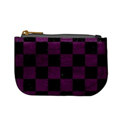 Square1 Black Marble & Purple Leather Mini Coin Purses by trendistuff