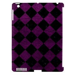 Square2 Black Marble & Purple Leather Apple Ipad 3/4 Hardshell Case (compatible With Smart Cover) by trendistuff