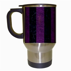 Stripes1 Black Marble & Purple Leather Travel Mugs (white) by trendistuff
