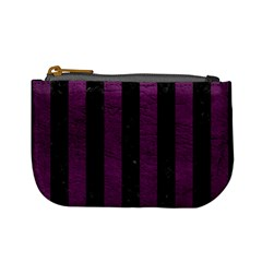 Stripes1 Black Marble & Purple Leather Mini Coin Purses by trendistuff