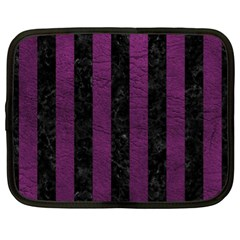 Stripes1 Black Marble & Purple Leather Netbook Case (xl)  by trendistuff