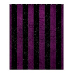 Stripes1 Black Marble & Purple Leather Shower Curtain 60  X 72  (medium)  by trendistuff