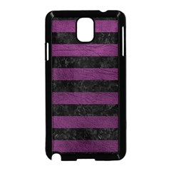 Stripes2 Black Marble & Purple Leather Samsung Galaxy Note 3 Neo Hardshell Case (black) by trendistuff