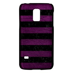 Stripes2 Black Marble & Purple Leather Galaxy S5 Mini by trendistuff