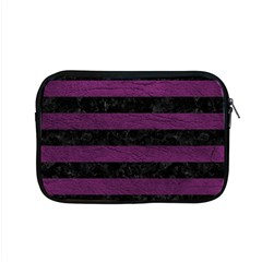 Stripes2 Black Marble & Purple Leather Apple Macbook Pro 15  Zipper Case