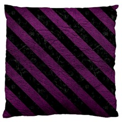 Stripes3 Black Marble & Purple Leather Large Cushion Case (two Sides) by trendistuff