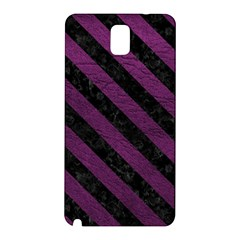 Stripes3 Black Marble & Purple Leather Samsung Galaxy Note 3 N9005 Hardshell Back Case