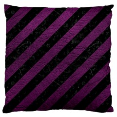Stripes3 Black Marble & Purple Leather (r) Large Cushion Case (two Sides) by trendistuff