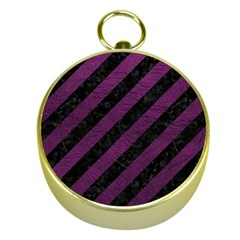 Stripes3 Black Marble & Purple Leather (r) Gold Compasses by trendistuff