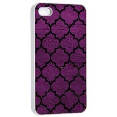 Tile1 Black Marble & Purple Leather Apple Iphone 4/4s Seamless Case (white) by trendistuff