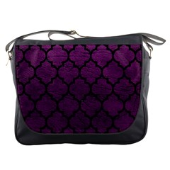 Tile1 Black Marble & Purple Leather Messenger Bags by trendistuff