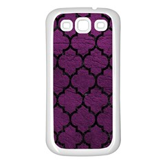 Tile1 Black Marble & Purple Leather Samsung Galaxy S3 Back Case (white) by trendistuff