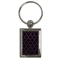 Tile1 Black Marble & Purple Leather (r) Key Chains (rectangle)  by trendistuff