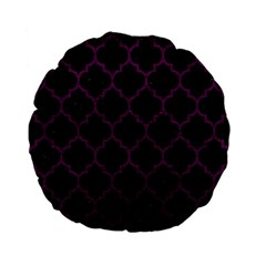 Tile1 Black Marble & Purple Leather (r) Standard 15  Premium Flano Round Cushions by trendistuff