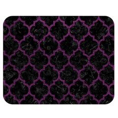 Tile1 Black Marble & Purple Leather (r) Double Sided Flano Blanket (medium)  by trendistuff
