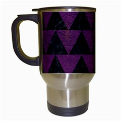 Triangle2 Black Marble & Purple Leather Travel Mugs (white) by trendistuff