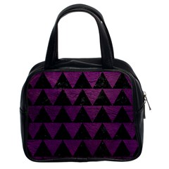 Triangle2 Black Marble & Purple Leather Classic Handbags (2 Sides) by trendistuff