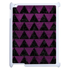 Triangle2 Black Marble & Purple Leather Apple Ipad 2 Case (white) by trendistuff