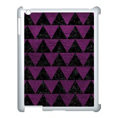 Triangle2 Black Marble & Purple Leather Apple Ipad 3/4 Case (white) by trendistuff