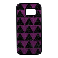 Triangle2 Black Marble & Purple Leather Samsung Galaxy S7 Black Seamless Case by trendistuff