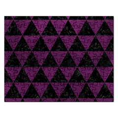 Triangle3 Black Marble & Purple Leather Rectangular Jigsaw Puzzl by trendistuff