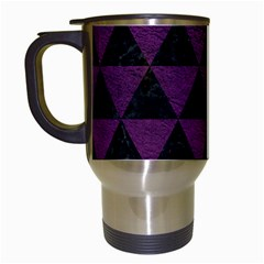 Triangle3 Black Marble & Purple Leather Travel Mugs (white) by trendistuff