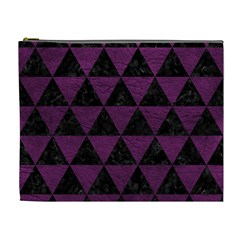 Triangle3 Black Marble & Purple Leather Cosmetic Bag (xl) by trendistuff