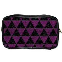 Triangle3 Black Marble & Purple Leather Toiletries Bags 2 Side by trendistuff