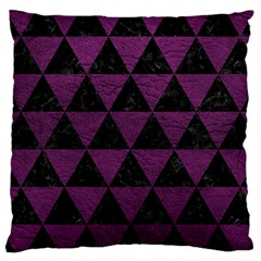 Triangle3 Black Marble & Purple Leather Large Cushion Case (two Sides) by trendistuff
