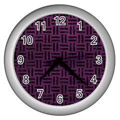 Woven1 Black Marble & Purple Leather Wall Clocks (silver)  by trendistuff