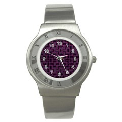 Woven1 Black Marble & Purple Leather Stainless Steel Watch by trendistuff