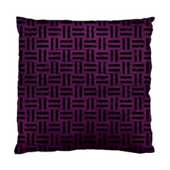 Woven1 Black Marble & Purple Leather Standard Cushion Case (one Side) by trendistuff