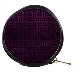 Woven1 Black Marble & Purple Leather Mini Makeup Bags by trendistuff