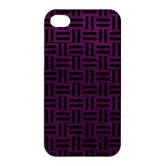 Woven1 Black Marble & Purple Leather Apple Iphone 4/4s Hardshell Case by trendistuff