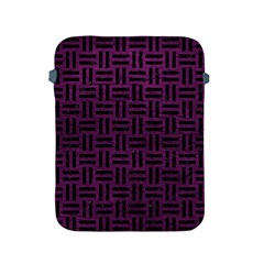 Woven1 Black Marble & Purple Leather Apple Ipad 2/3/4 Protective Soft Cases by trendistuff