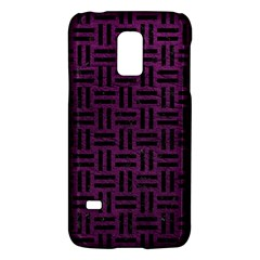 Woven1 Black Marble & Purple Leather Galaxy S5 Mini by trendistuff
