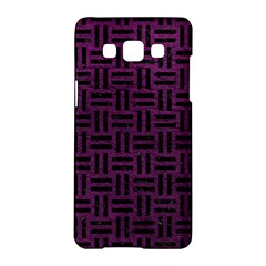 Woven1 Black Marble & Purple Leather Samsung Galaxy A5 Hardshell Case  by trendistuff