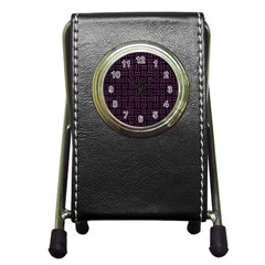 Woven1 Black Marble & Purple Leather (r) Pen Holder Desk Clocks by trendistuff
