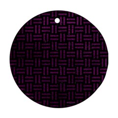 Woven1 Black Marble & Purple Leather (r) Round Ornament (two Sides) by trendistuff