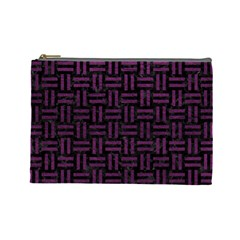 Woven1 Black Marble & Purple Leather (r) Cosmetic Bag (large)  by trendistuff