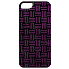 Woven1 Black Marble & Purple Leather (r) Apple Iphone 5 Classic Hardshell Case by trendistuff