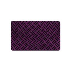Woven2 Black Marble & Purple Leather Magnet (name Card) by trendistuff