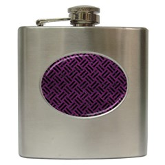 Woven2 Black Marble & Purple Leather Hip Flask (6 Oz) by trendistuff