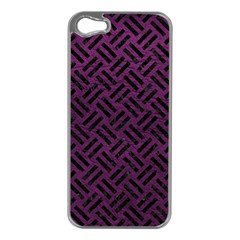 Woven2 Black Marble & Purple Leather Apple Iphone 5 Case (silver) by trendistuff