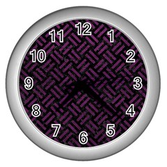 Woven2 Black Marble & Purple Leather (r) Wall Clocks (silver)  by trendistuff