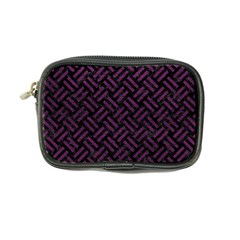 Woven2 Black Marble & Purple Leather (r) Coin Purse by trendistuff