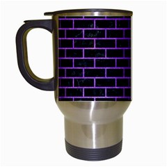 Brick1 Black Marble & Purple Watercolor (r) Travel Mugs (white) by trendistuff
