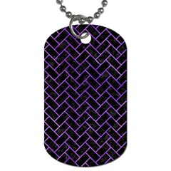 Brick2 Black Marble & Purple Watercolor (r) Dog Tag (two Sides) by trendistuff