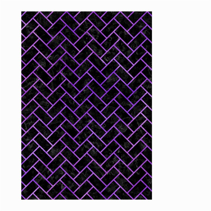 BRICK2 BLACK MARBLE & PURPLE WATERCOLOR (R) Small Garden Flag (Two Sides)